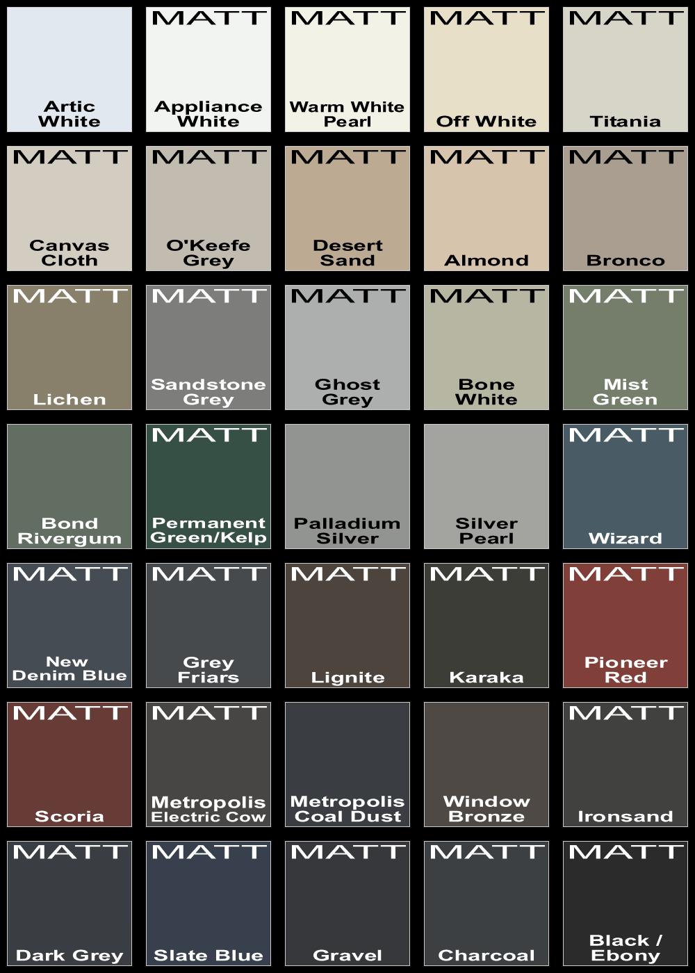 Vantage Colour Range At Envision Aluminium Marlborough NZ